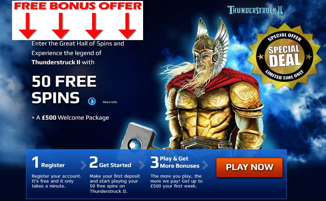 50 free spins on Thunderstruck 2